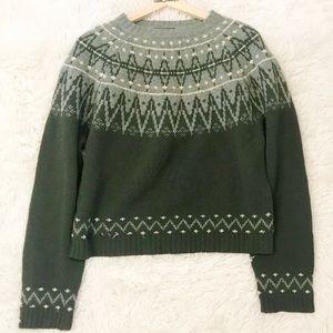 American Eagle 100%Shetland Wool Fair Isle Sweater